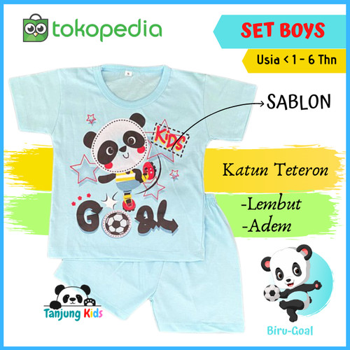 Foto Produk Baju Pakaian Stelan Setelan Kaos Anak Bayi Laki Laki Cowok Cowo Murah - BIRU-GOAL, S dari Tanjung Kids