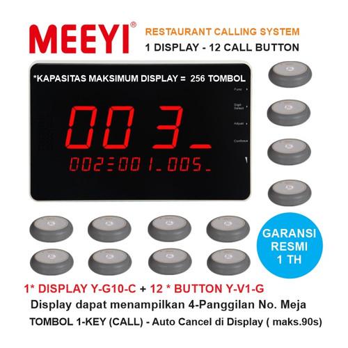 Foto Produk Bel Meja Restoran 1 Display dan 12 Call Button - MEEYI Y-G10-C x Y-V1 dari EtalaseBelanja