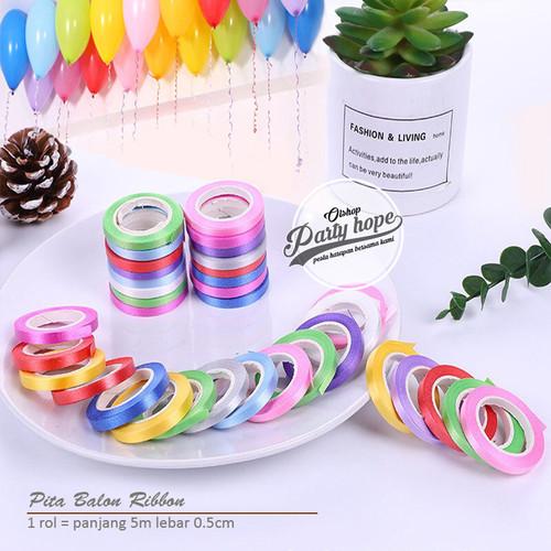 Foto Produk Pita Balon / Curly Ribbon / Pita ribbon Balon Mini / pita rope serut - Biru dari PARTY HOPE 2