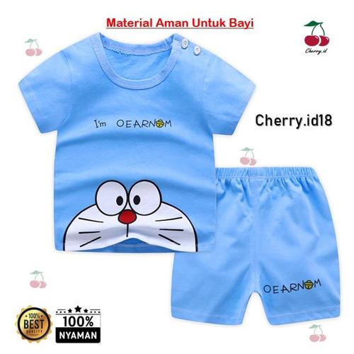 Foto Produk (0-2 Thn) COD Setelan Baju Bayi Import / Pakaian Baju Laki Laki Import - Biru Doreaman, 0-6 Bulan dari CherryId18
