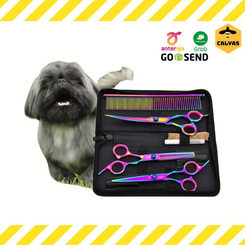 Foto Produk Gunting Grooming Rambut Bulu Anjing Kucing Pet Scissors Set - set 3 gunting dari Calyas