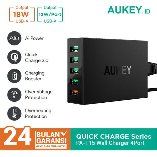 Foto Produk Aukey Charger 5 Ports 54W QC 3.0 & AiQ - 500077 dari AUKEY