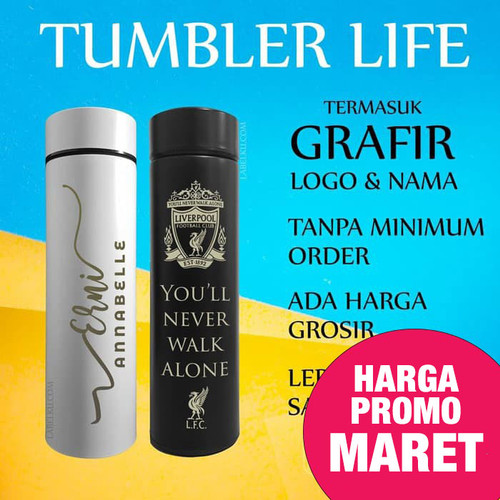 Foto Produk Tumbler Custom Logo Nama Botol Promosi Grafir Laser, LIFE Sakura dari Labelku