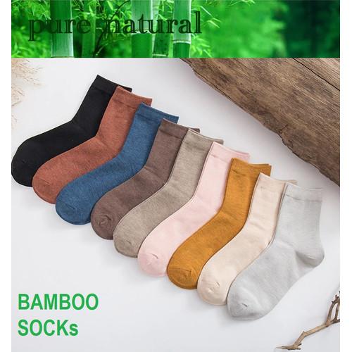 Foto Produk KK57 Koas Kaki Wanita Serat Bambu Candy Solid Color Bamboo Socks dari EnnWen Online Store