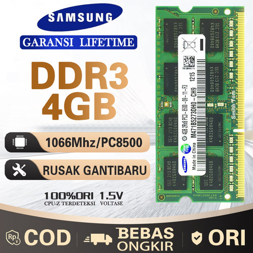 Foto Produk Ram laptop samsung SODIMM 4GB DDR3 DDR3-1066mhz/PC8500 4G sodim dari Smith Tom