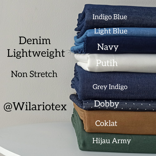 Foto Produk Bahan Kain Denim tipis / kain kemeja denim / bahan blouse chambray - Putih dari Wilario Shop