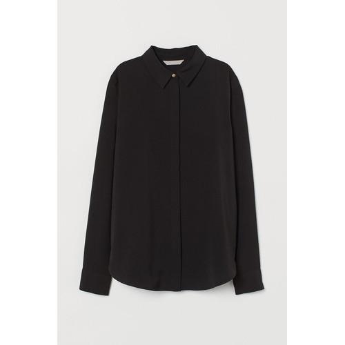 Foto Produk Kemeja H&M Basic Shirt Black Original HnM Hitam Wanita Kerja Kantor - 32 dari OTOMO Store