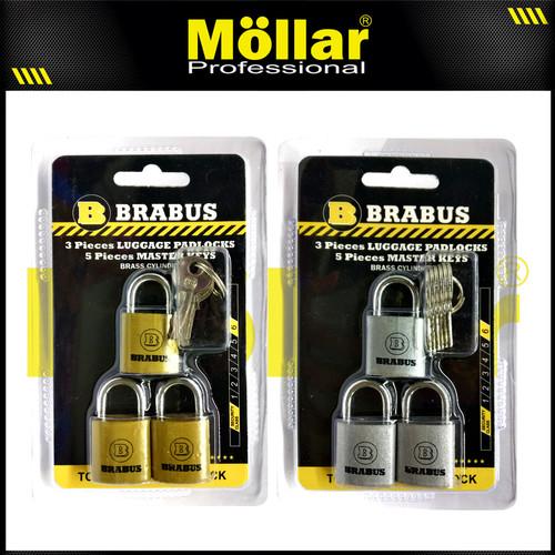 Foto Produk BRABUS 3 PCS GEMBOK MINI 20 MM TAS KOPER SET MASTER KEY dari Mollar Official