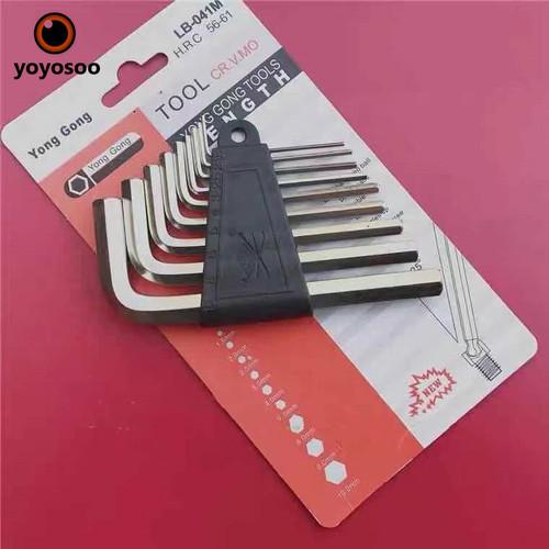 Foto Produk Kunci L 9 Piece Hex Key Kunci L Set dari yoyosoo