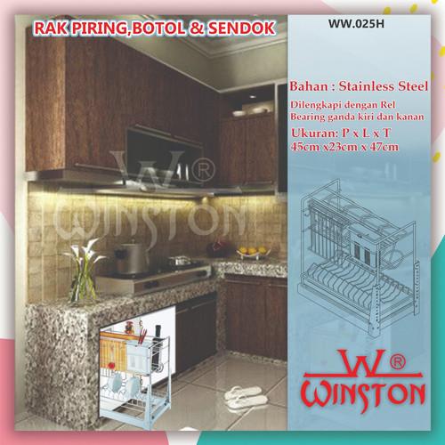 Foto Produk Rak Piring Mangkok Botol Pisau Tarik Stainless Winston WW 025H dari WINSTON SUKSES ABADI