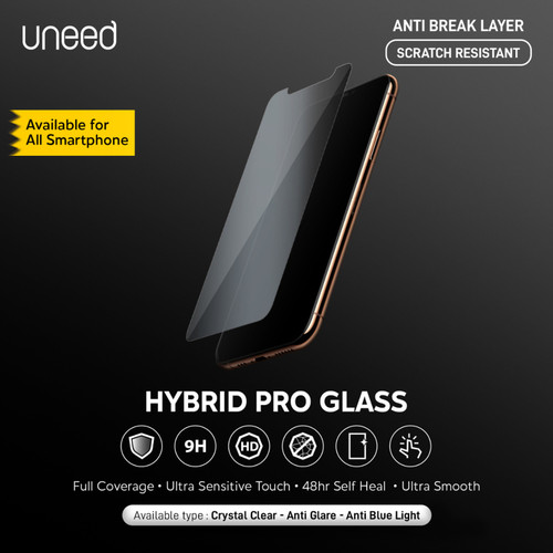 Foto Produk Uneed Hybrid Pro Anti Break Screen Protector Handphone Full Cover - Clear, Front and Back dari Uneed Indonesia