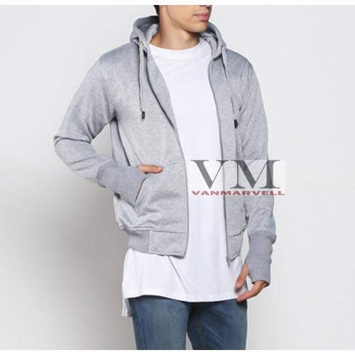 Foto Produk VM Jaket Zipper Polos Hoodie Full Sleting Abu tua - Abumuda, XL dari VM VanMarvell