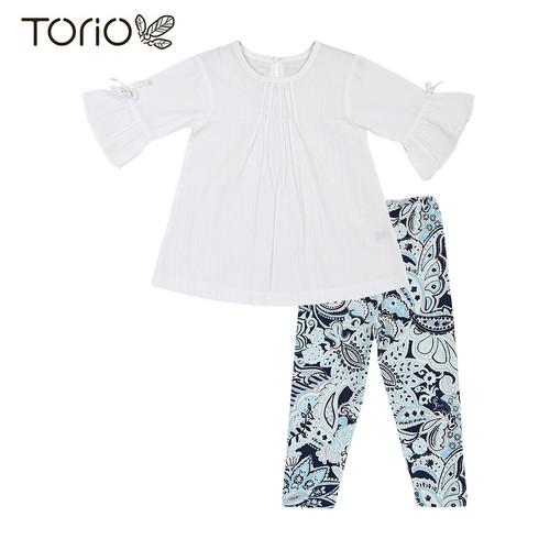 Foto Produk TORIO Legging Set Blue With Flower - Baju Setelan Anak Permpuan - 1-2 tahun dari Torio