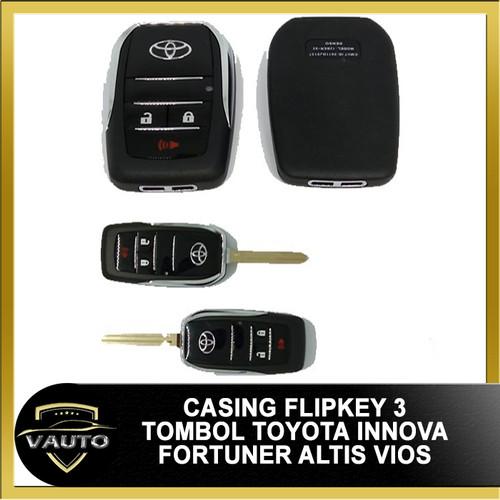 Foto Produk Casing Kunci Lipat Flip Key Toyota 3 Tombol Innova Fortuner Altis Vios dari vauto