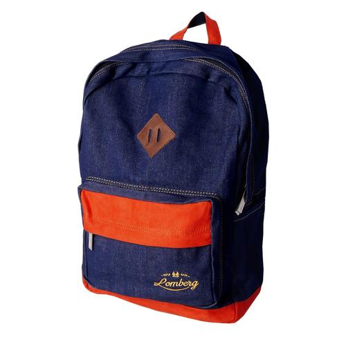 Foto Produk Lomberg Lash Navy Denim Backpack - Tas Ransel Denim Suede - Biru Tua dari Lomberg Bags