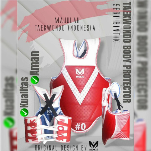 Foto Produk Hugo Moks Super Dolby Body Protector Pelindung Badan Taekwondo DuaSisi - Biru Merah, 4 dari Max Sports ID