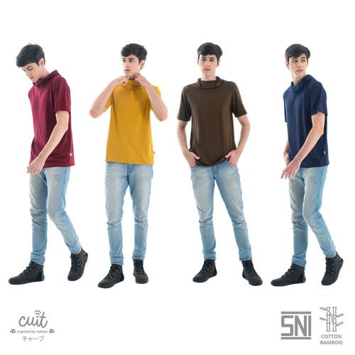 Foto Produk CUIT FAMILY Bamboo Cotton Yuta built in Masker Kaos T-shirt Hoodie Men - Maroon Dahlia, L dari Cuit Baby Wear