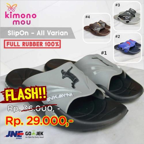 Foto Produk Sandal Sendal Pria Cowok - SlipOn Slop - Rubber Karet - New Elegant - Biru, 39 dari Kimono Mou
