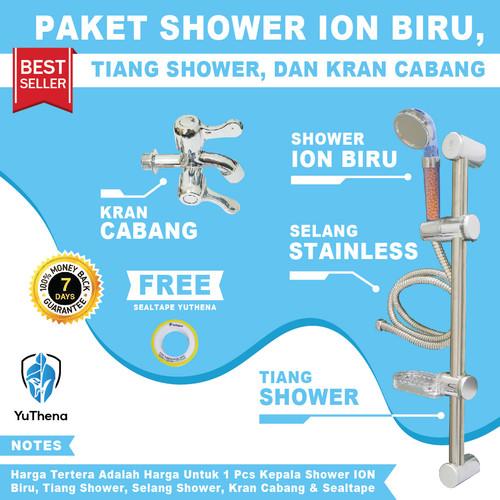 Foto Produk Shower Mandi Set Shower Ion Biru dengan Tiang Shower dan keran cabang+ dari YuThena Official Store
