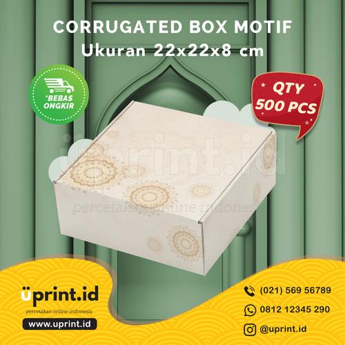Foto Produk CORRUGATED MOTIF LEBARAN 22x22x8 cm BOX HAMPERS QTY 500pcs BBF22-043 dari Uprint.id