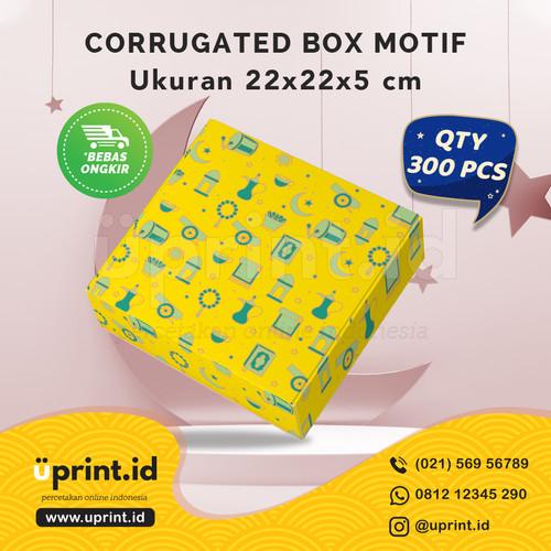 Foto Produk CORRUGATED MOTIF LEBARAN|22x22x5 cm||BOX HAMPERS |QTY 300pcs|BBS22-039 dari Uprint.id