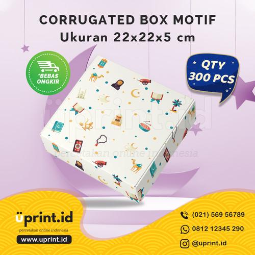 Foto Produk CORRUGATED MOTIF LEBARAN|22x22x5 cm||BOX HAMPERS |QTY 300pcs|BBS22-040 dari Uprint.id