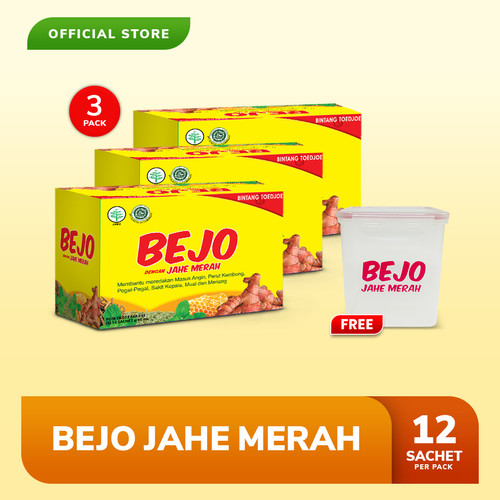 Foto Produk Bejo Jahe Merah Sachet 3 Pack (36 Sachet) FREE Big Box dari Bintang Toedjoe Official