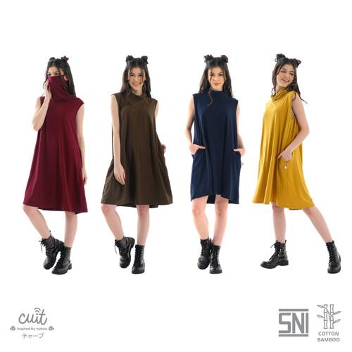Foto Produk CUIT FAMILY Bamboo Cotton Yuta built in Masker Dress Miki Series - Yellow Persian, all size dari Cuit Baby Wear