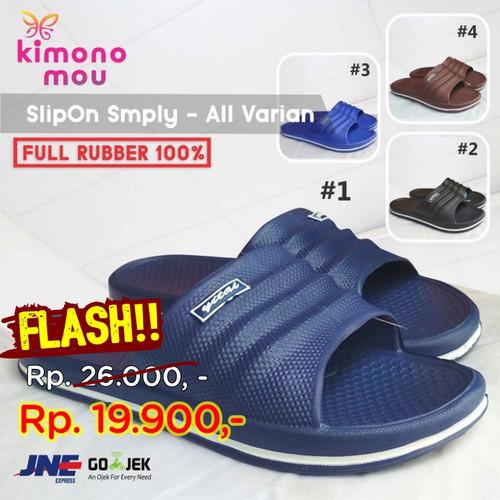 Foto Produk Sandal Sendal Pria Cowok Cewek - SlipOn Slop - Karet - New Simple - Cokelat, 39 dari Kimono Mou