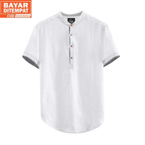 Foto Produk Baju Koko Pria Lengan Pendek Hanafi Kemeja Muslim Pria Terbaru Tebal - Putih, M dari Rumah Soccer ID