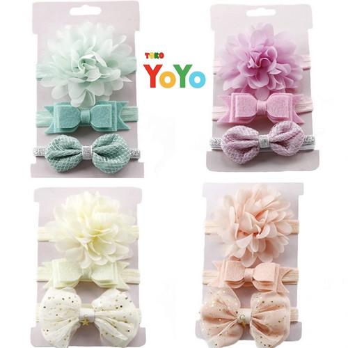 Foto Produk Bandana anak bayi set 3pcs / Bando anak bayi set / Baby headband 3pcs - Kuning dari Toko-Yoyo