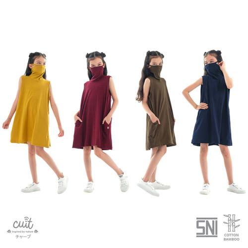 Foto Produk CUIT KIDS Bamboo Cotton Yuta built in Masker Dress Anak Miki Series - Yellow Persian, S dari Cuit Baby Wear