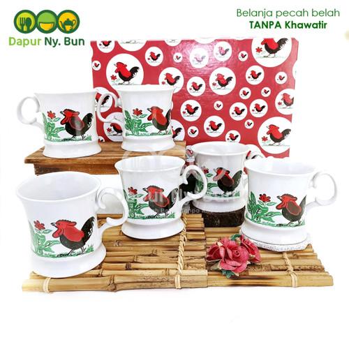 Foto Produk Paket EKSKLUSIF 6 Pcs Premium Cangkir Seri 2 Ayam Jago JADUL/Hampers dari Dapur Ny.Bun