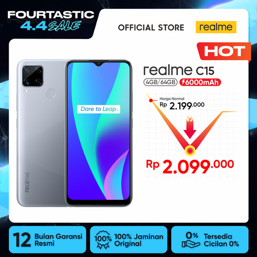Foto Produk realme C15 4/64GB [6000mAh, 18W Quick Charge, Ultra-Wide Quad Camera] - Abu-abu dari realme Official Store