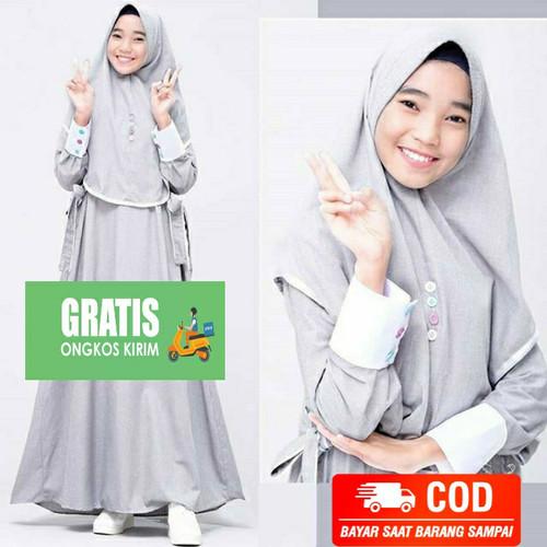 Foto Produk Gamis syari anak Maya Remaja tanggung usia 9-12 tahun setelan hijab - Abu-abu dari KAMILA OUTFIT 48