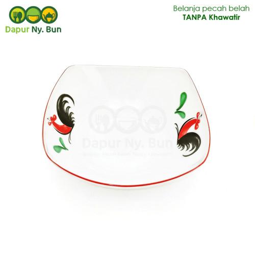 Foto Produk Mangkok Keramik Saji KOTAK Motif Ayam Jago Seri 2 Ukuran 7 Inch dari Dapur Ny.Bun