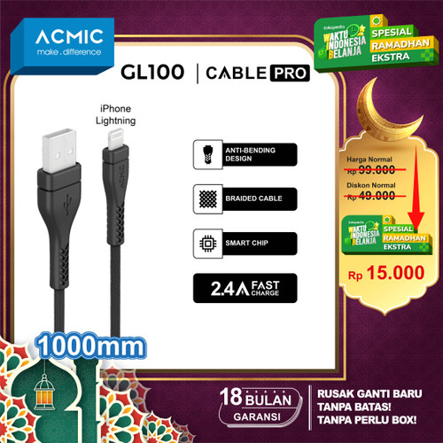 Foto Produk ACMIC Braided Line Kabel Data Charger 100cm Fast Charging Cable - iPhone GL100 dari ACMIC Official Store