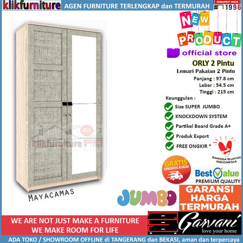Foto Produk Lemari Pakaian 2 Pintu Jumbo ORLY 2P Garvani - Mayacamas dari klikfurniture