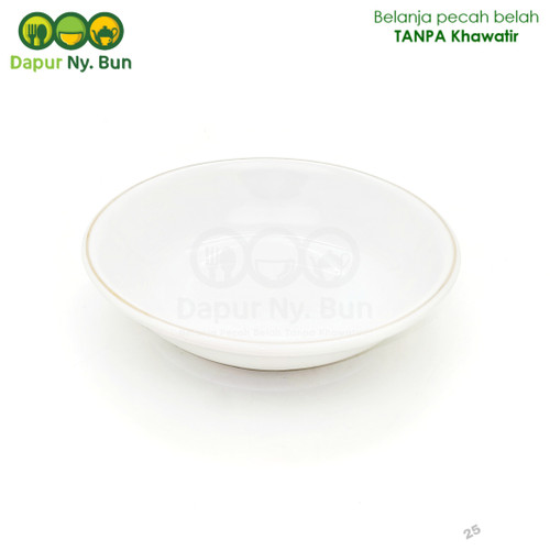 Foto Produk Piring Keramik Saji Pudding Motif List Emas Ukuran 5,5Inch/Piring Mini dari Dapur Ny.Bun