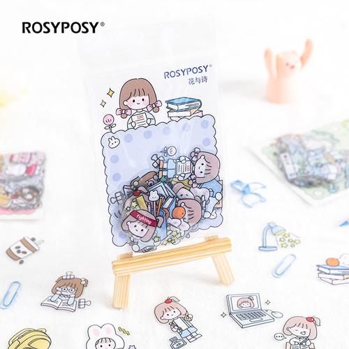 Foto Produk Rosyposy Rabbit Duo Flake Stickers Set - Sticker Lucu - Sticker Unik - STUDY TIME dari Pinkabulous