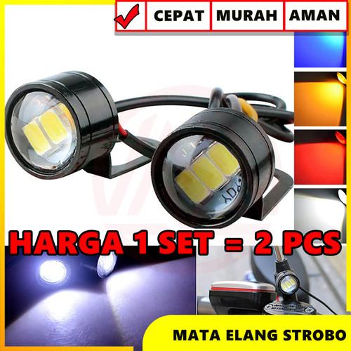 Foto Produk MATA ELANG STROBO EAGLE EYE FLASH STROBO KEDIP 3 LED DENGAN BRACKET - Kuning dari Modifikasi Market