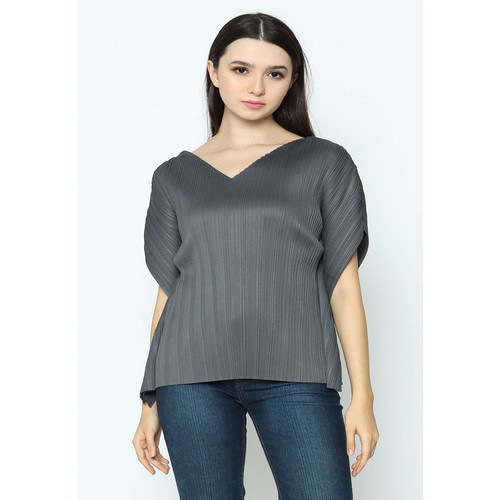Foto Produk Voerin Pleats Grey Blouse Wanita - all size, Abu-abu dari Voerin Official