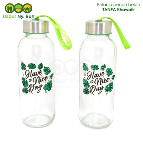 Foto Produk Botol Minum Kaca Have A Nice Day Ukuran 420ml / Botol Sedang dari Dapur Ny.Bun