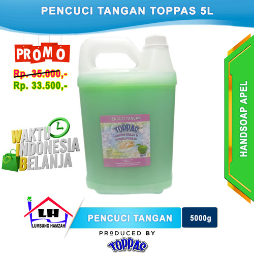Foto Produk Hand Soap Apel 5 L TOPPAS Mutu TOP Harga PAS Promo dari Toko Sabun Hamzah