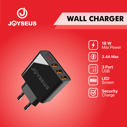 Foto Produk JOYSEUS USB Charger 3 Port 3.4a Led Travel Charger Adapter - CL0014 dari Joyseus Official Store