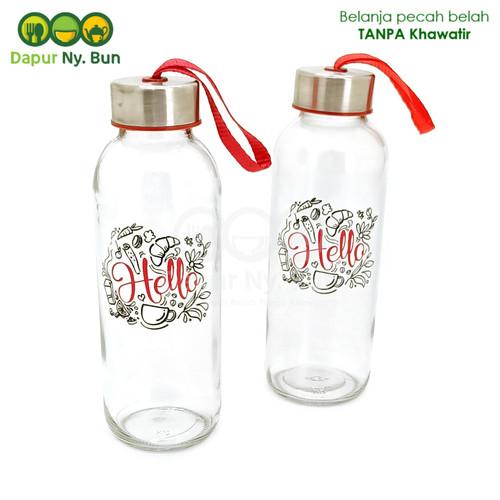 Foto Produk Botol Minum Kaca HELLO Ukuran 420ml / Botol Sedang dari Dapur Ny.Bun