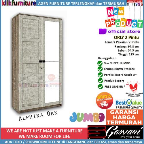 Foto Produk Lemari Pakaian 2 Pintu Jumbo ORLY 2P Garvani - Alphina Oak dari klikfurniture