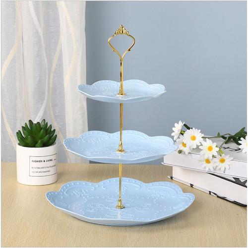 Foto Produk Three Tier Dessert Tray / Tempat Kue Buah Biskuit 3 Tingkat Bulat Segi - Round Blue dari Et Felicel
