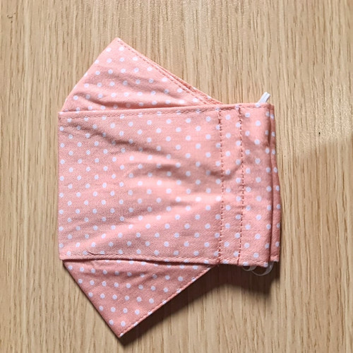 Foto Produk masker kain 3ply dewasa - polka oranye, tali kuping dari shade_butik
