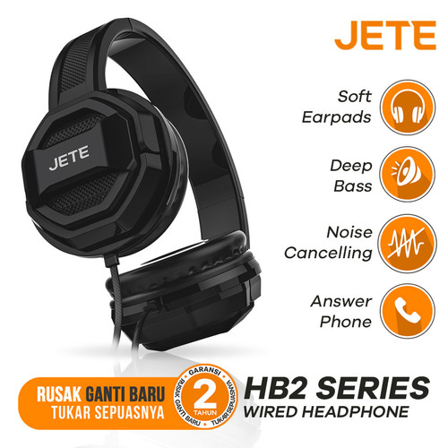 Foto Produk Headset | Headphone | Headset Bando | JETE HB2 - Hitam dari Doran Gadget